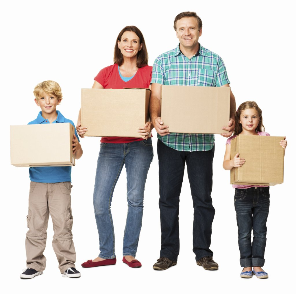 Moving company, U.Santini moving and storage, moving, packing, Full length portrait of a happy family holding cardboard boxes.