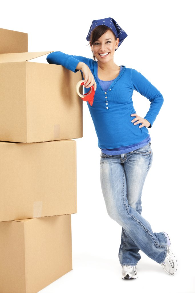 Moving company, U. Santini moving and storage, girl with boxes and hand cart