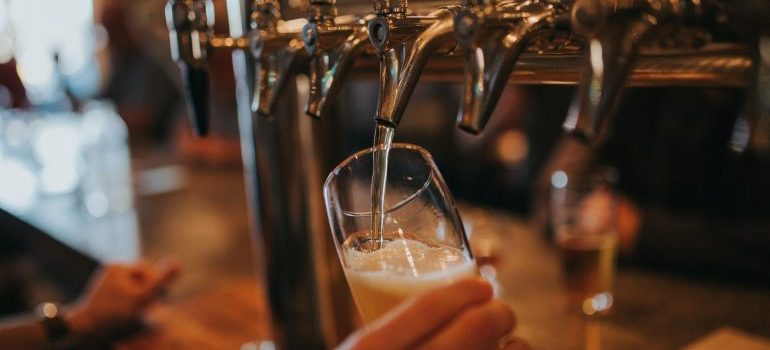 Pouring beer in a popular Brooklyn pub