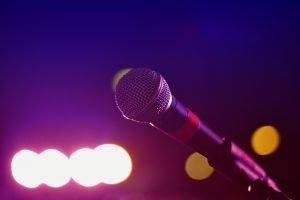microphone in a karaoke bar in one of the Brooklyn neighborhoods for singles