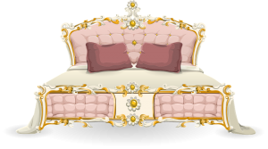 A drawing of a pink bed with white sheets.