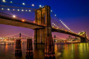 The Brooklyn bridge at night.