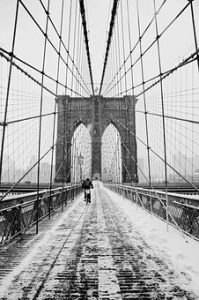 Brooklyn bridge covered with snow