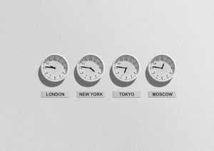Four clocks on the wall