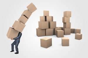 A sketch of a man in suit holding five moving boxes. There are a lot of boxes behind him, and they do not seem to have the same size. Learn how to recognize the right size moving boxes for you