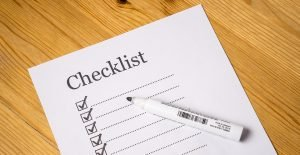 A checklist on a piece of paper