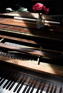 parts of a piano in light
