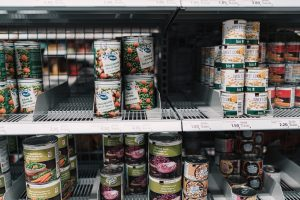 Canned food on the shelves