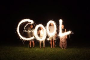 """a glowing sign which forms the word """"Cool"""""""