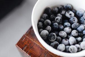 Frozen blueberries.