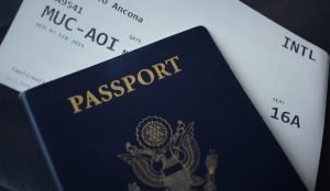 Passport and plane ticket.