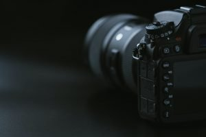Camera on a black surface
