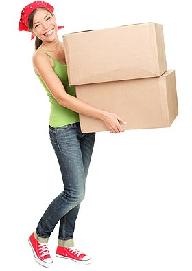 Girl holding two boxes