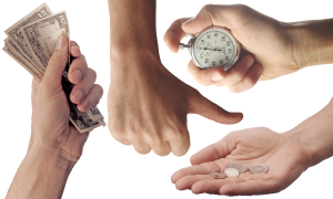 Hands holding a stopwatch, money and some change