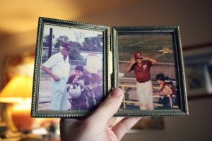 Photo album with two old photos.