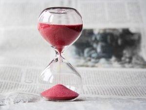 An hourglass,