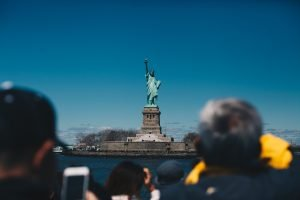 Frontal view of the Statue of Liberty from Red Hook storage
