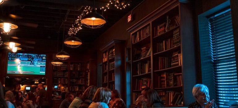 A library feel pub