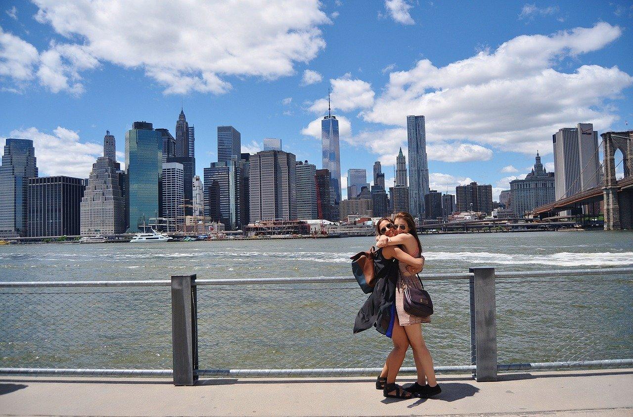 Two women hugging in Brooklyn