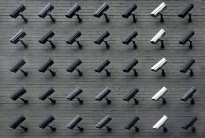Surveillance cameras on the wall