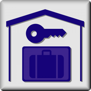 you should know what to look for in storage facilities, a blue suitcase,blue key in a house