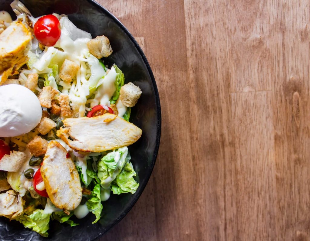 A chicken salad - eat healthy to protect your health when relocating to NYC