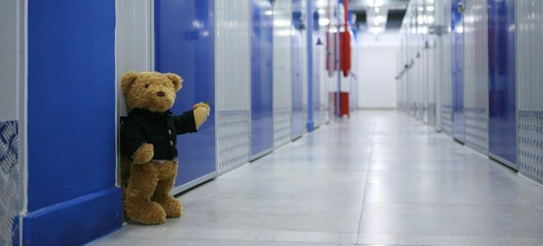 Storage unit with blue doors and a teddy bear in the hallway.