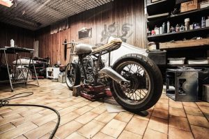 motorcycle in the storage unit