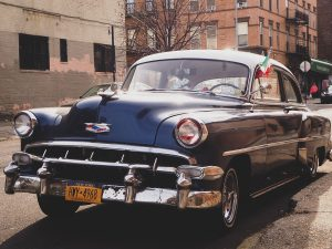 nyc car plate on the car
