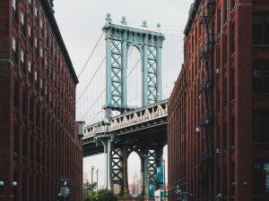 View of Brooklyn bridge from a street.
