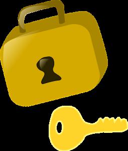 yellow padlock and a yellow key