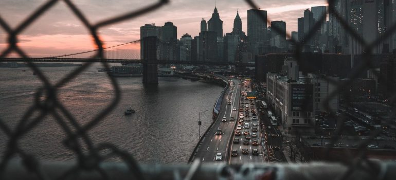 a view of Brooklyn from a bridge