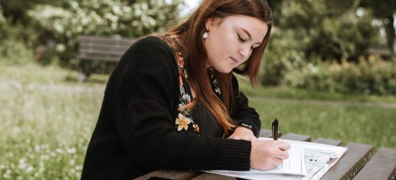 A girl making a plan