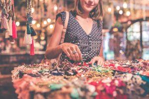 woman checking jewelry