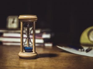 sand clock on a table