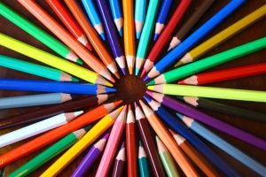 Bright coloring pens in a circle.