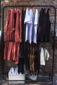 clothes on a garage sale