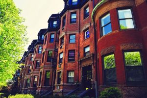 A row of brownstones.