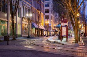 An empty street in the night.