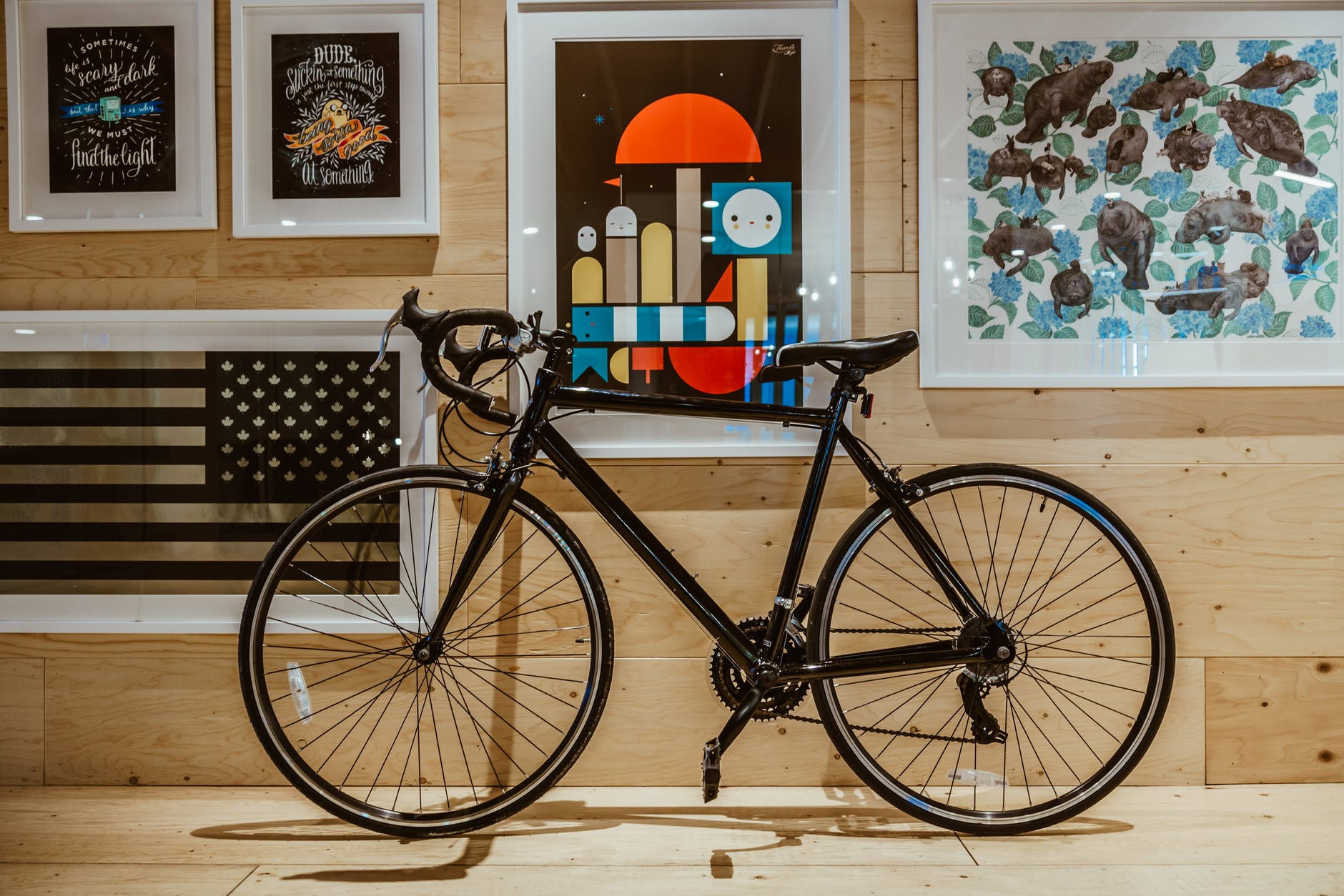 Pictures on the walls and bicycle. You should know how to store your bicycle for the witner
