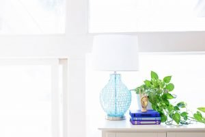 A lamp, some books and a plant on a white surface in front of the window.