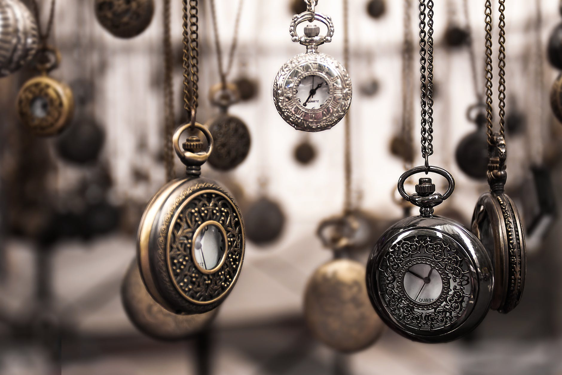 A lot of pocket watches, which you should treat with care if you want to store collectable items.