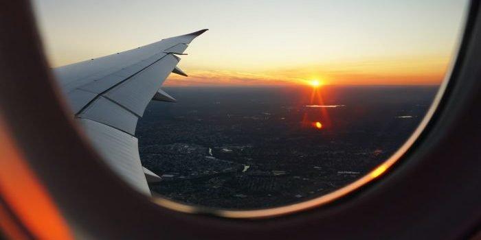 A photo of a plane window