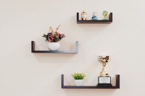 Three brown shelves on the wall, holding plants, a trophy and some small items.