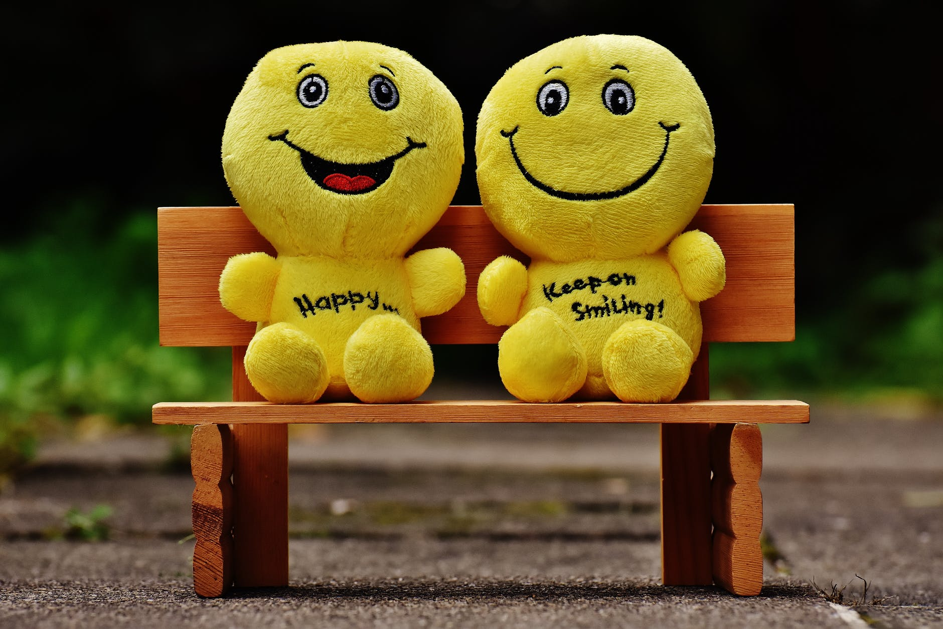Two yellow stuffed toys on a bench. They represent smiley faces. Happiness can be found in a life after Brooklyn.
