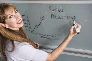 a girl writing a graph