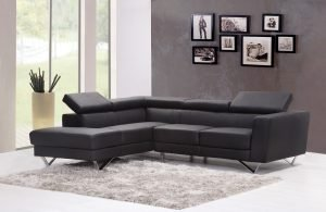 black sofa in the living room