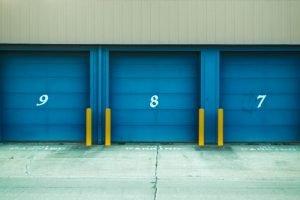 Blue storage doors