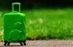 a green suitcase