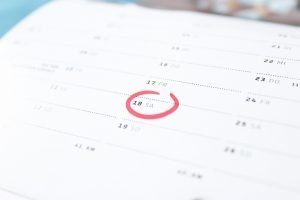 calendar with marked day for your Christmas relocation to Manhattan